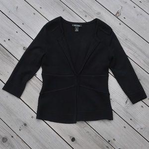 WHBM jet black 3/4 sleeve fine knit cardigan XS